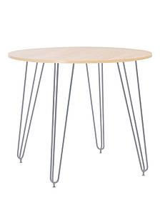 Стол обеденный круглый Aller H18 каркас alu, столешница ДСП Береза Полярная Ø90 (Новый Стиль ТМ)