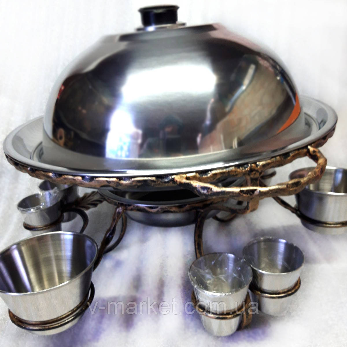 Підставка Садж (360мм) кований метал з соусницами і чарками для подачі та підігріву м'яса (шашлику)