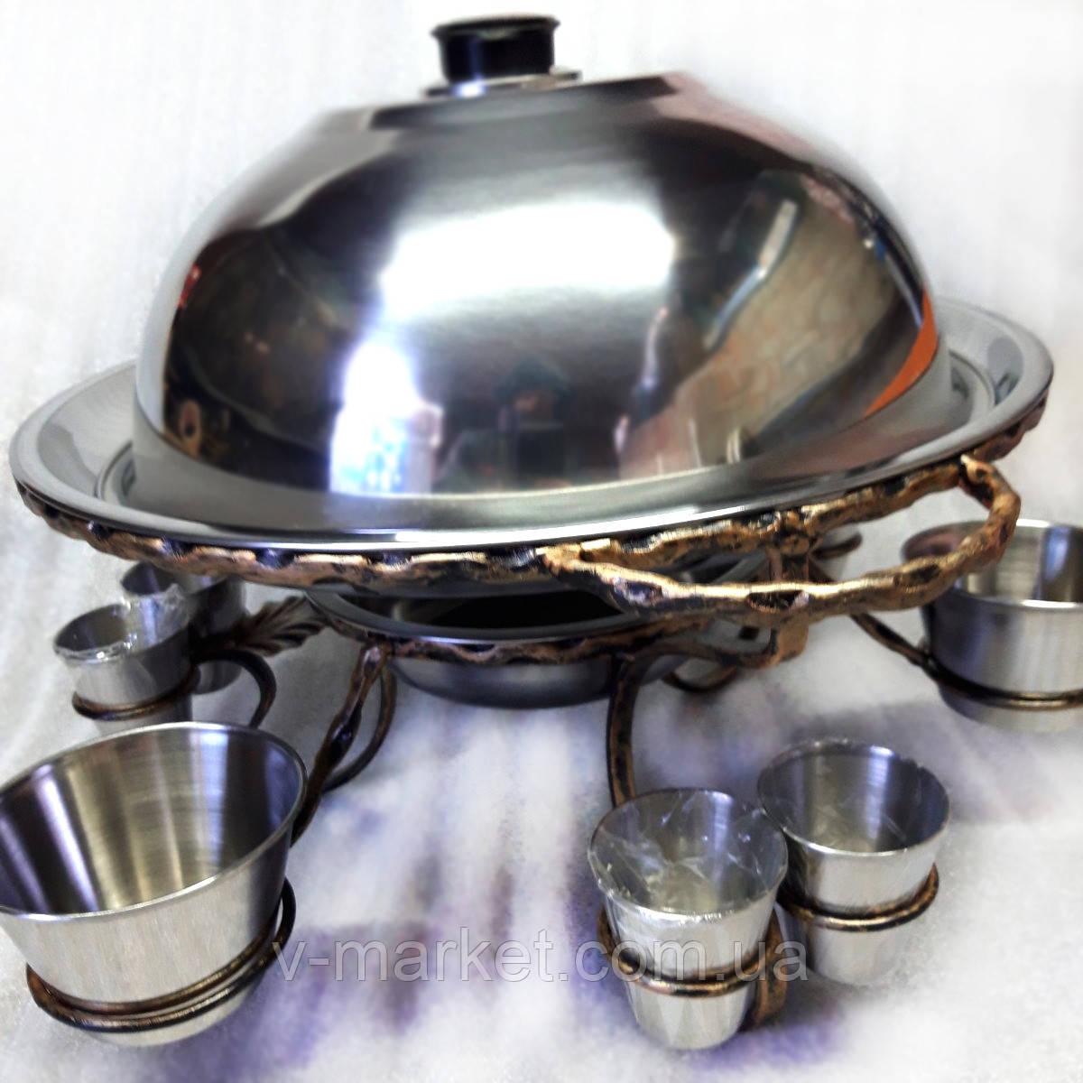 Подставка Садж (360мм) кованный металл с соусницами и рюмками для подачи и подогрева мяса (шашлыка)