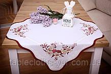 Салфетка Великодня 86-86 «Пташки» Червоний візерунок Біла