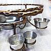 Подставка Садж (360мм) кованный металл с соусницами и рюмками для подачи и подогрева мяса (шашлыка), фото 2