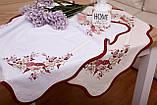 Салфетка Пасхальная 86-86 «Птички» Красный узор Белая, фото 2