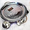 Подставка Садж (360мм) кованный металл с соусницами и рюмками для подачи и подогрева мяса (шашлыка), фото 3
