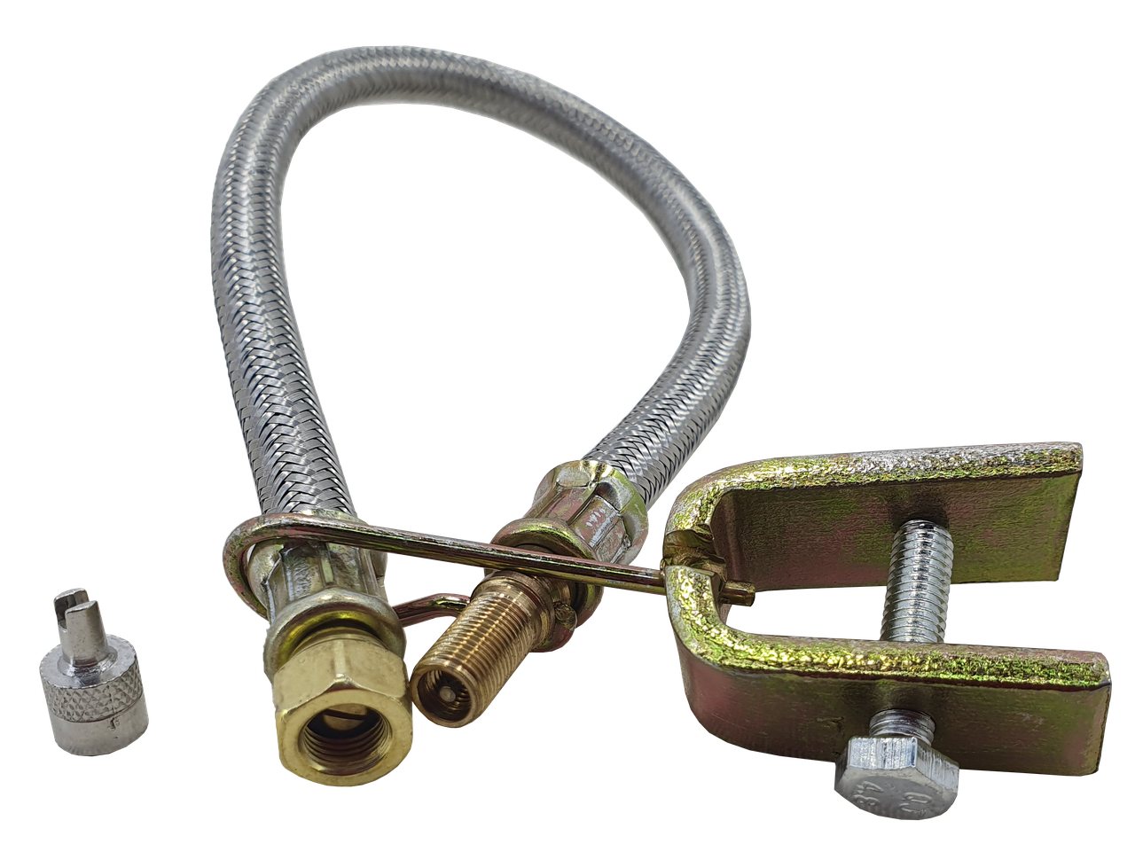 Шланг подкачки внутреннего колеса 350 мм (удлинитель вентиля металлооплётка + крепление + латунь  наконечник)