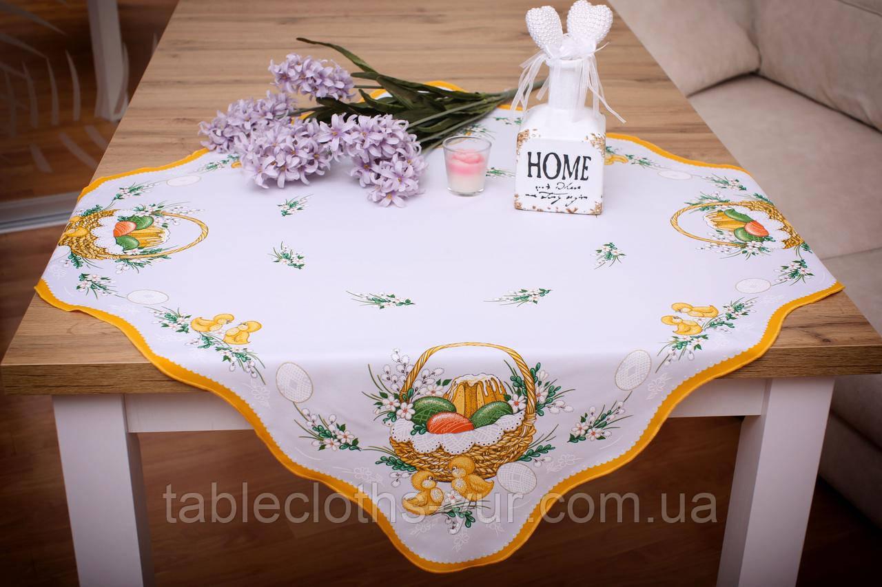 Салфетка Пасхальная 86-86 «Пасхальная Корзина» Желтый узор Белая №2