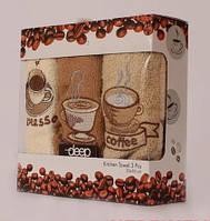 """Подарочные турецкие кухонные полотенца """"Кофе"""" 30х50, набор из 3 штук, разных цветов, махра (хлопок)"""