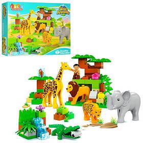 Конструктор JDLT зоопарк, фигурка, лев, жираф-звук,бат(табл), 26 дет