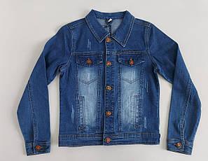 Джинсовый детский пиджак «YUKE» синего цвета для мальчика (134-158 р)