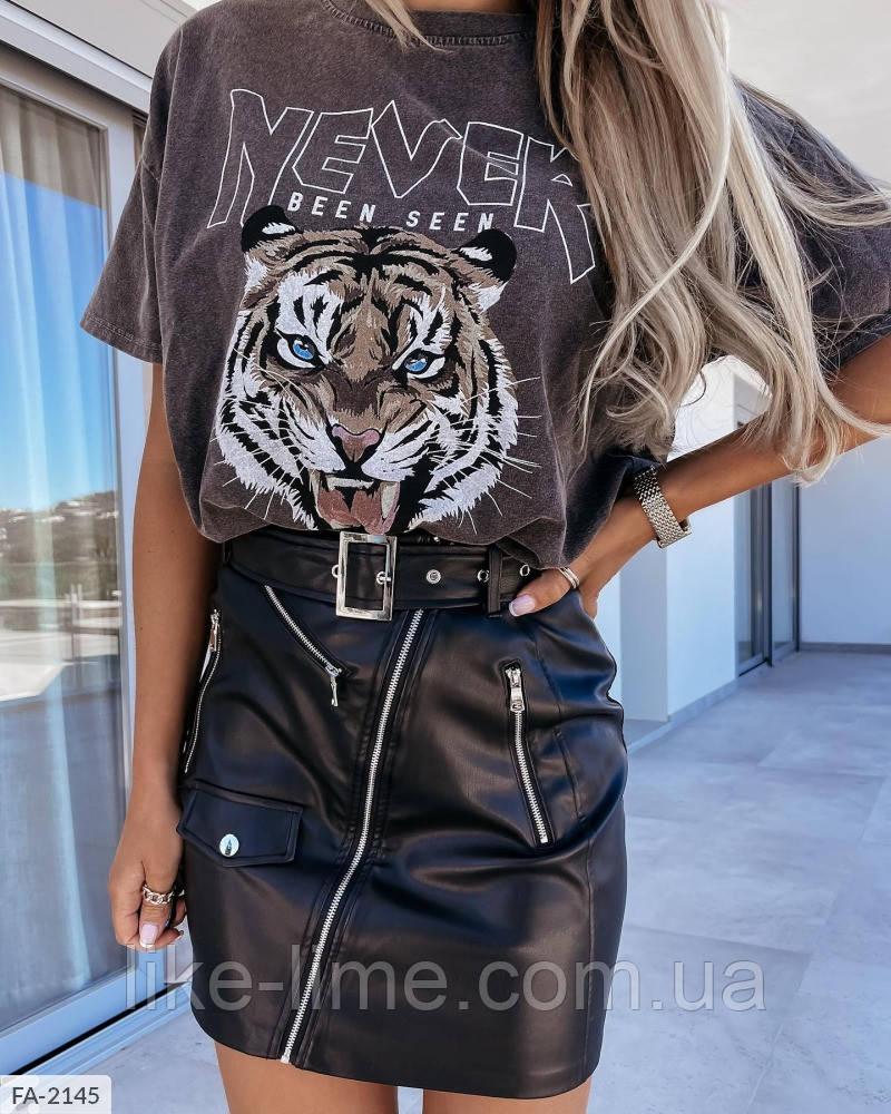 Женская базовая футболка с тигром ,красивая футболка