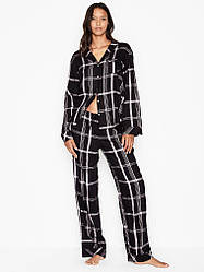 Фланелевая Пижама Victoria's Secret Shimmer Flannel PJ Set, Черная в клетку L