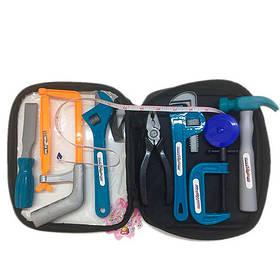 Набор инструментов 2004-303  молоток,пила,плоскогубцы,ключ,в сумке, 14-22-6см