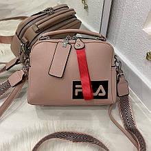 Женская сумка Feel на 2 отделения с двумя ремешками пудра СФ26
