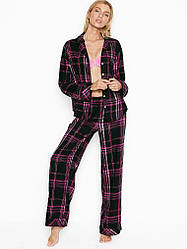 Фланелева Піжама Victoria's Secret Flannel PJ Set, Чорна в в фіолетову клітку