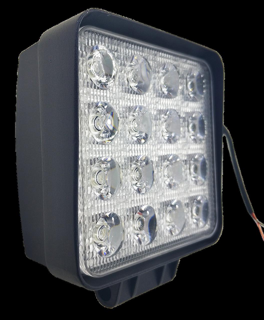 LED (Лед) фара квадратная 48W, (16 диодов х 3 ват = 48 Ват), широкий луч 10/30V 6000K