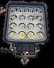 LED (Лед) фара квадратная 48W, (16 диодов х 3 ват = 48 Ват), широкий луч 10/30V 6000K, фото 4