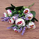 Букет камелии ранункулюса шебби шик с лавандой  белый с  розовым 30 см., фото 2