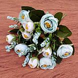 Букет камелии ранункулюса шебби шик с лавандой  белый с  розовым 30 см., фото 3