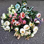 Букет камелии ранункулюса шебби шик с лавандой  белый с  розовым 30 см., фото 4
