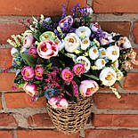 Букет камелии ранункулюса шебби шик с лавандой  белый с  розовым 30 см., фото 5