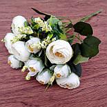 Букет камелии ранункулюса шебби шик с лавандой  белый с  розовым 30 см., фото 7