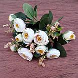 Букет камелии ранункулюса шебби шик с лавандой  белый с  розовым 30 см., фото 8
