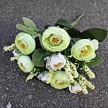 Букет камелии ранункулюса шебби шик с лавандой  белый с  розовым 30 см., фото 9
