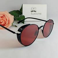 Эксклюзивные поляризованные круглые  красные очки с широкими боковинами