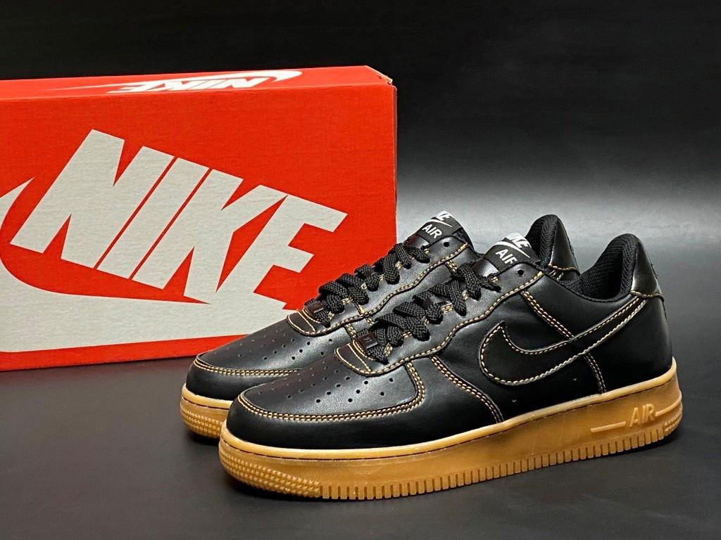 Мужские кроссовки Nike Air Force Af 1, черные / кроссовки Найк Аир Форсе (Топ реплика ААА+)
