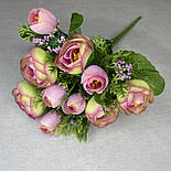Штучні квіти Букет ранункулюса з ягодою 30 см. штучна камелія персиковий, фото 5