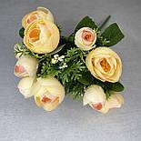 Штучні квіти Букет ранункулюса з ягодою 30 см. штучна камелія персиковий, фото 8