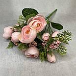 Штучні квіти Букет ранункулюса з ягодою 30 см. штучна камелія персиковий, фото 9