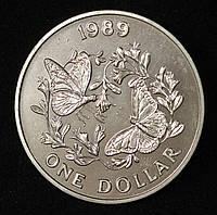 Монета Бермудских островов 1 доллар 1989 г. Бабочка Данаида монарх