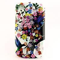 """Чехол-накладка для Lenovo A780, силиконовый со стразами, """"Девушка с цветами"""" /case/кейс /леново"""