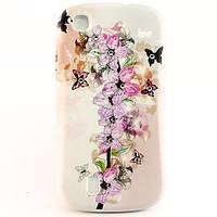"""Чехол-накладка для Lenovo A780, силиконовый со стразами, """"Цветы и бабочки"""" /case/кейс /леново"""