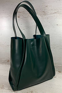 157 Натуральная кожа Формат А4+ Шоппер Женская сумка зеленая на плечо кожаная натуральная Размер А-4 сумка