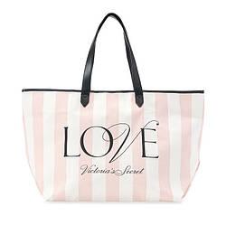 Пляжная Сумка Victoria's Secret Love Stripe Tote, Розовая в полоску