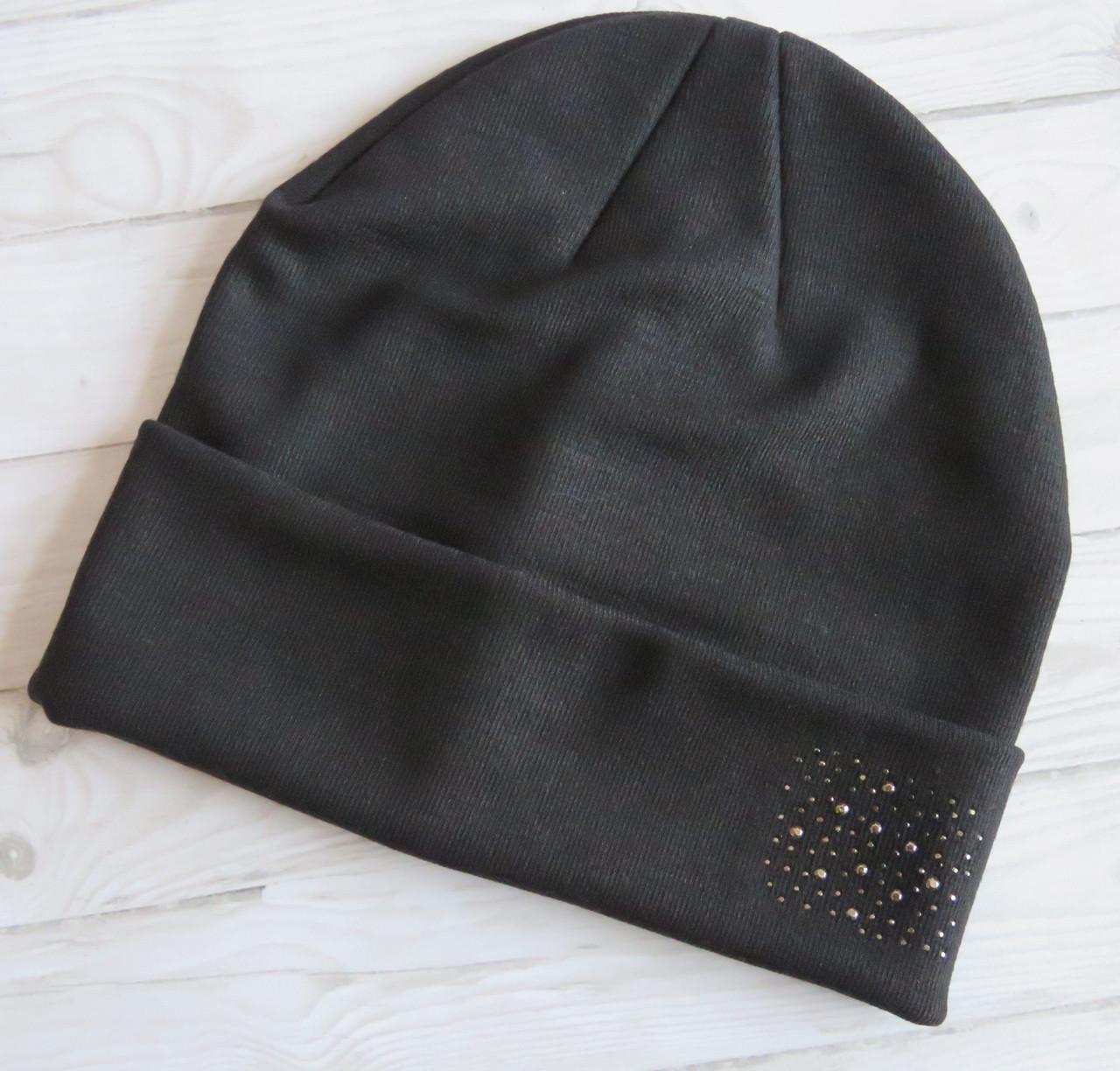 Молодежная трикотажная шапка Nord со стразами, черная