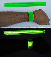 Светоотражающий браслет Flickers 40 см, Зелёный + бархат