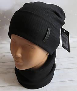 Детская трикотажная шапка и баф (хомут) Nord ангора, черная