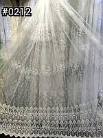 Гардина красивой вышивкой не дорогая фатин Тюль сетка в цвете крем Турецкая для спальни зала гостевой детской