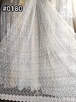 Тюль фатин густий красивою вишивкою білому кольорі недорога Гардина сітка Турецька для спальні залу гостьовий
