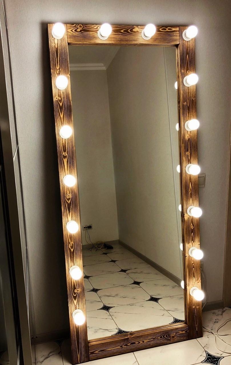 ☀️Зеркало❤️ с подсветкой☀️ Натуральное 🌲Дерево Опалено! Гримерное Зеркало для макияжа напольное с лампочками.