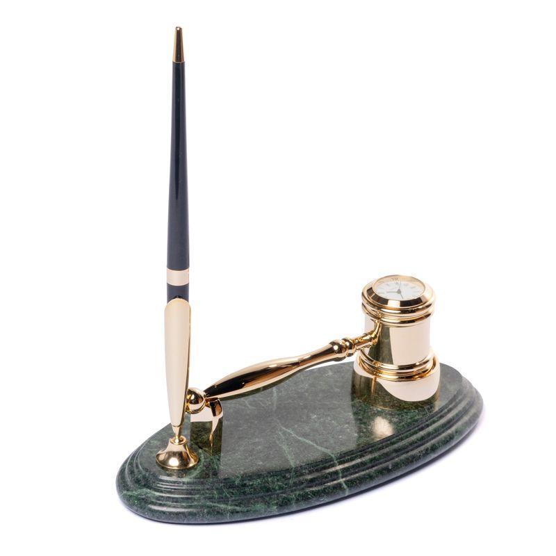 Молоток судьи подставка настольная с ручкой и часами мраморная 24х10 см BST 540029