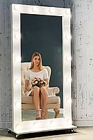 Зеркало с Подсветкой для макияжа гримерное во весь рост на колесиках для макияжа напольное с лампочками.