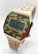 Часы мужские наручные электронные CASIO (Касио), золото с камуфляжным циферблатом ( код: IBW608YH )