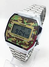 Часы мужские наручные электронные CASIO (Касио), серебро с камуфляжным циферблатом ( код: IBW608SH )