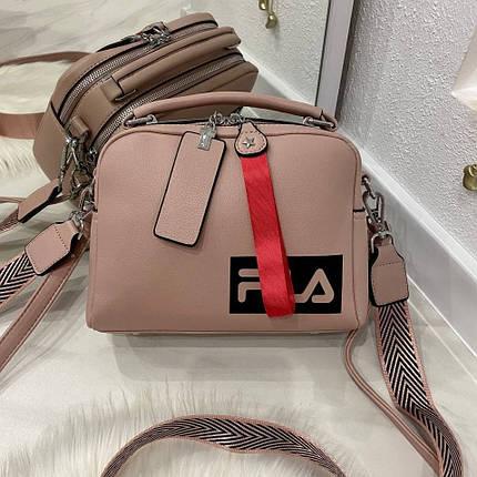 Женская сумка Feel на 2 отделения с двумя ремешками пудра СФ26, фото 2