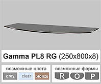 Полки стекло настенные навесные радиусные Commus PL8 RG (250х800х8мм), фото 1