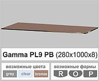 Полиця скло настінна навісна прямокутна Commus PL9 PB (280х1000х8мм), фото 1