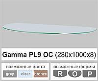 Полочка стеклянная настенная навесная овальная Commus PL9 OC (280х1000х8мм), фото 1